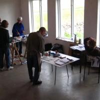 Målarskola fördjupande utbildning, arbete i ateljén