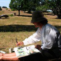 Akvarellmålning på Haväng
