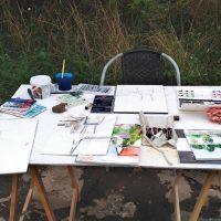 Arbetsbord för kollage, teckning, målning