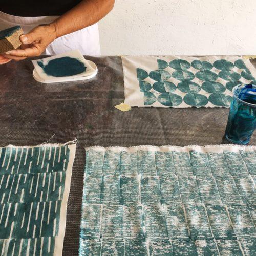 Textiltryck med block